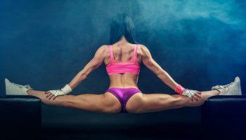 A gymnast balancing